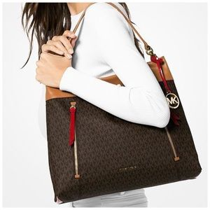 MICHAEL KORS Lex Hobo Bag Brown Red Gold